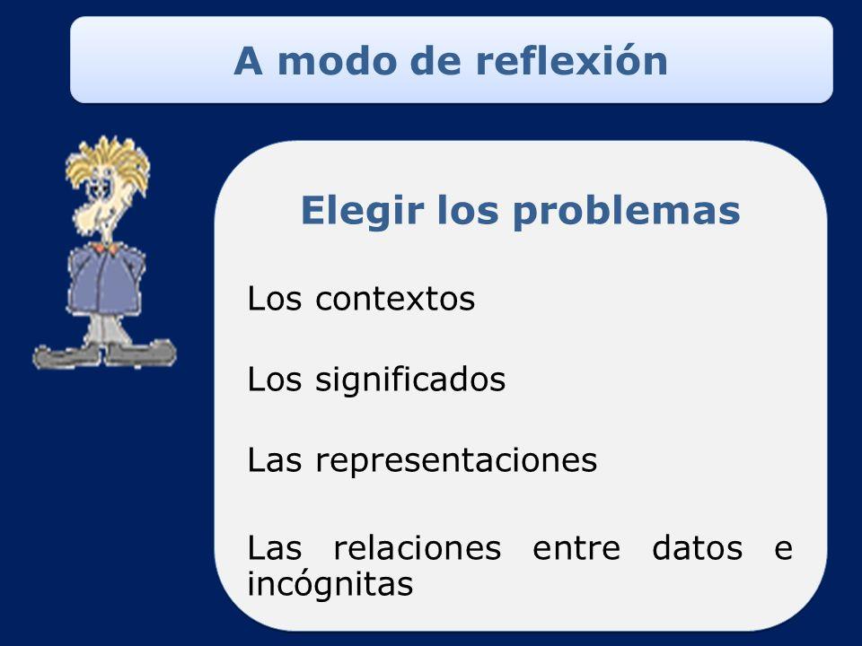A modo de reflexión LA DIVISION EN 4° Elegir los problemas