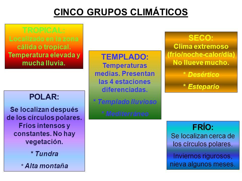 CINCO GRUPOS CLIMÁTICOS