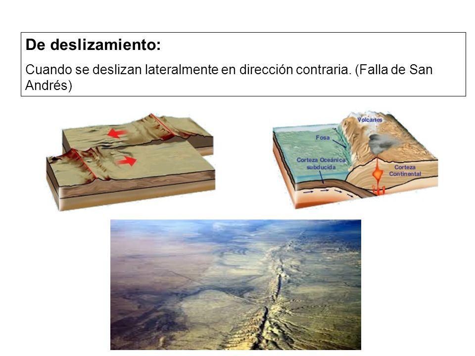 De deslizamiento: Cuando se deslizan lateralmente en dirección contraria. (Falla de San Andrés)
