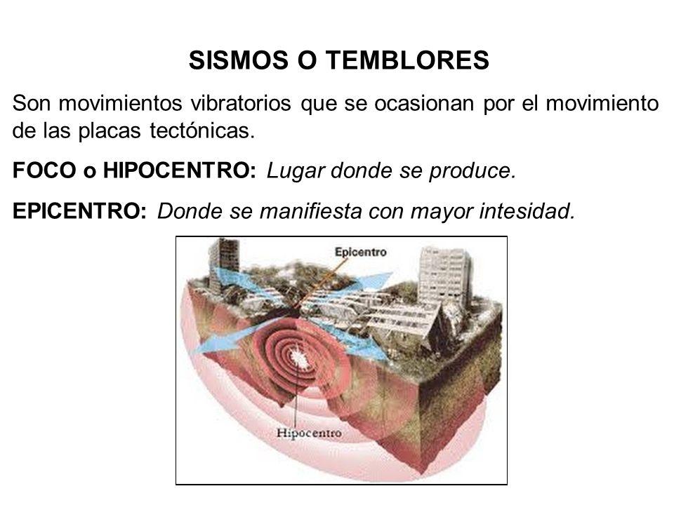 SISMOS O TEMBLORES Son movimientos vibratorios que se ocasionan por el movimiento de las placas tectónicas.