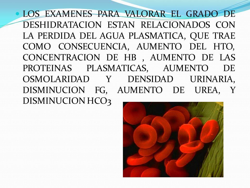 LOS EXAMENES PARA VALORAR EL GRADO DE DESHIDRATACION ESTAN RELACIONADOS CON LA PERDIDA DEL AGUA PLASMATICA, QUE TRAE COMO CONSECUENCIA, AUMENTO DEL HTO, CONCENTRACION DE HB , AUMENTO DE LAS PROTEINAS PLASMATICAS, AUMENTO DE OSMOLARIDAD Y DENSIDAD URINARIA, DISMINUCION FG, AUMENTO DE UREA, Y DISMINUCION HCO3