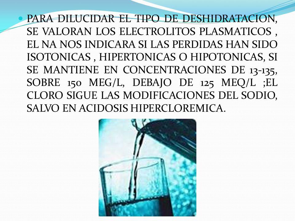 PARA DILUCIDAR EL TIPO DE DESHIDRATACION, SE VALORAN LOS ELECTROLITOS PLASMATICOS , EL NA NOS INDICARA SI LAS PERDIDAS HAN SIDO ISOTONICAS , HIPERTONICAS O HIPOTONICAS, SI SE MANTIENE EN CONCENTRACIONES DE 13-135, SOBRE 150 MEG/L, DEBAJO DE 125 MEQ/L ;EL CLORO SIGUE LAS MODIFICACIONES DEL SODIO, SALVO EN ACIDOSIS HIPERCLOREMICA.