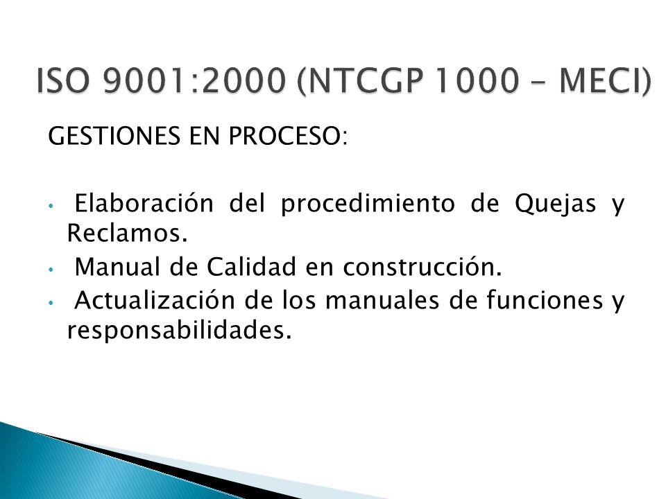 ISO 9001:2000 (NTCGP 1000 – MECI) GESTIONES EN PROCESO: