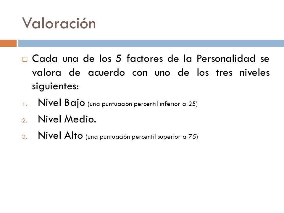 Valoración Cada una de los 5 factores de la Personalidad se valora de acuerdo con uno de los tres niveles siguientes: