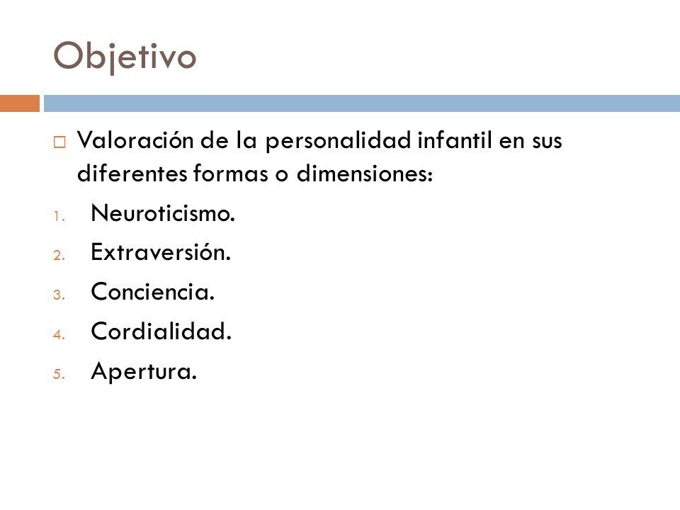 Objetivo Valoración de la personalidad infantil en sus diferentes formas o dimensiones: Neuroticismo.