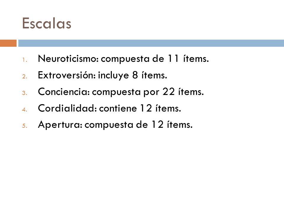 Escalas Neuroticismo: compuesta de 11 ítems.