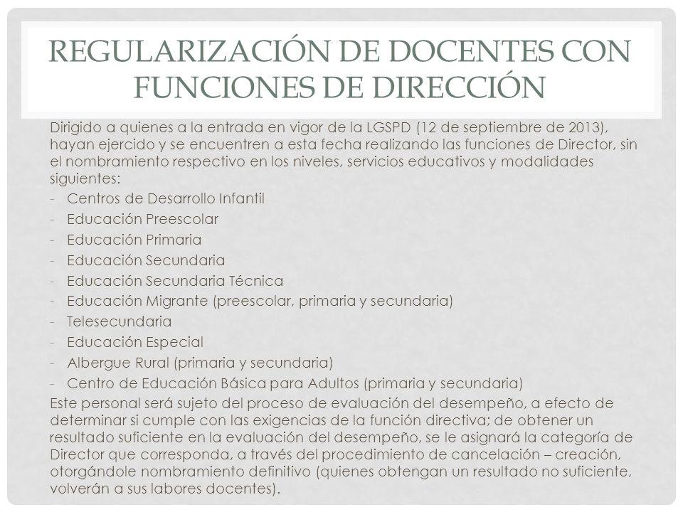 REGULARIZACIÓN DE docentes con funciones de dirección