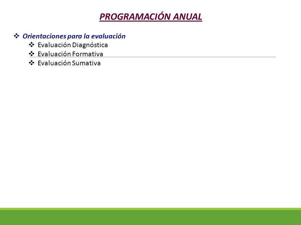 PROGRAMACIÓN ANUAL Orientaciones para la evaluación