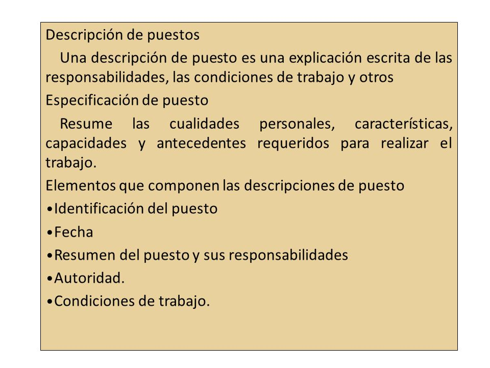 ANALISIS DE PUESTOS. - ppt descargar