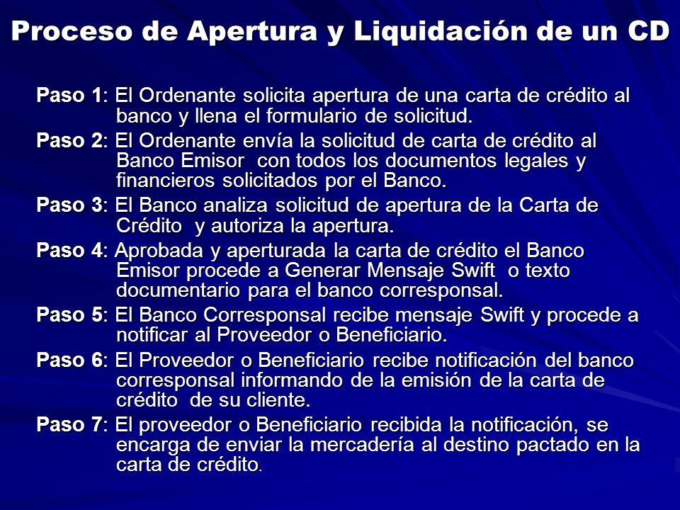Proceso de Apertura y Liquidación de un CD