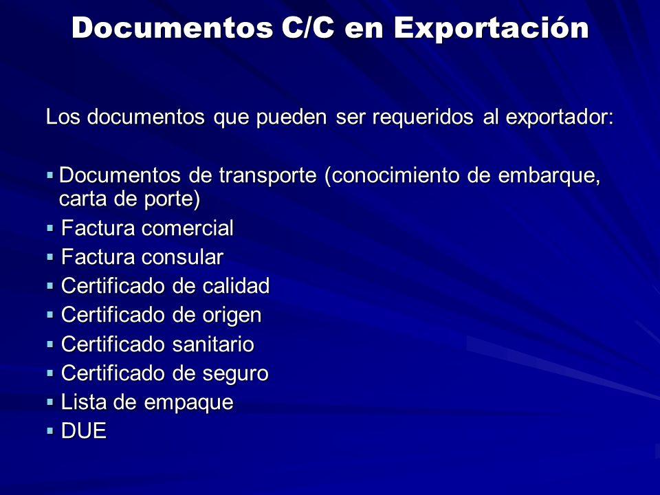 Documentos C/C en Exportación