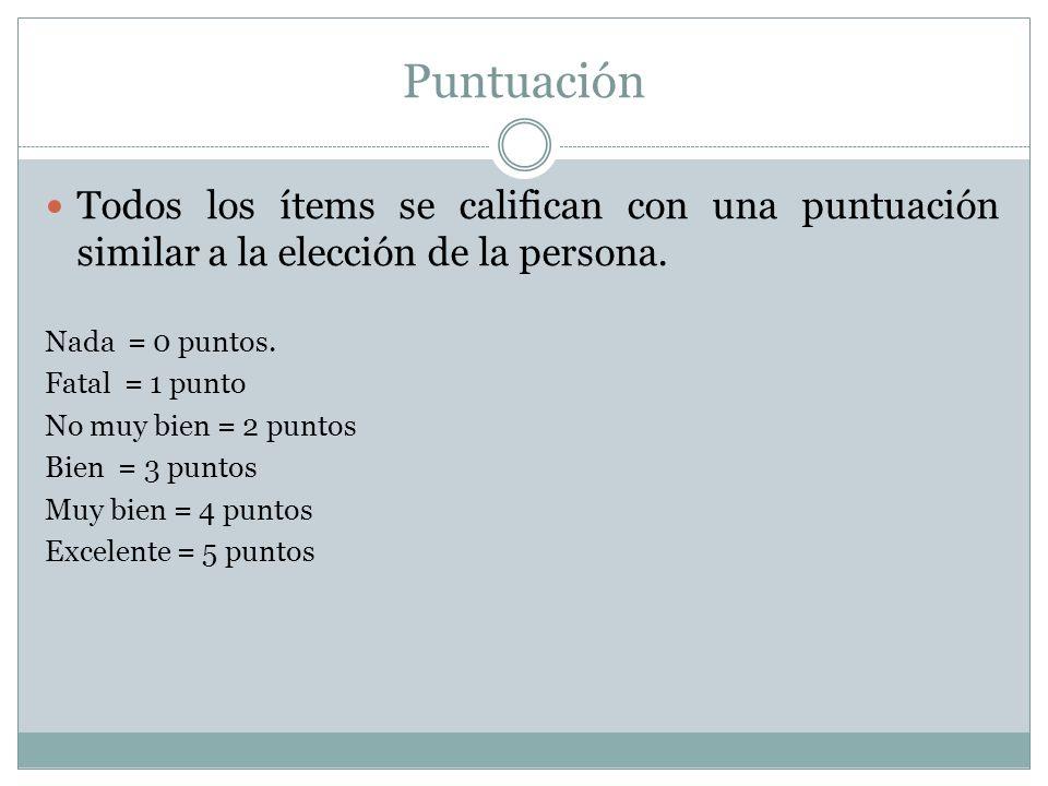 Puntuación Todos los ítems se califican con una puntuación similar a la elección de la persona. Nada = 0 puntos.