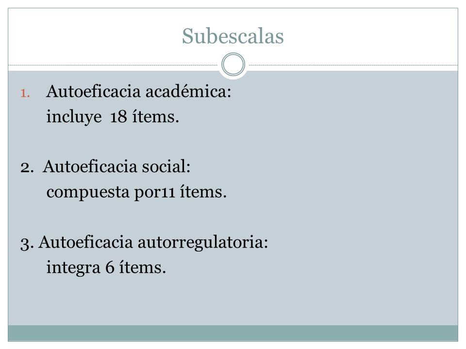 Subescalas Autoeficacia académica: incluye 18 ítems.