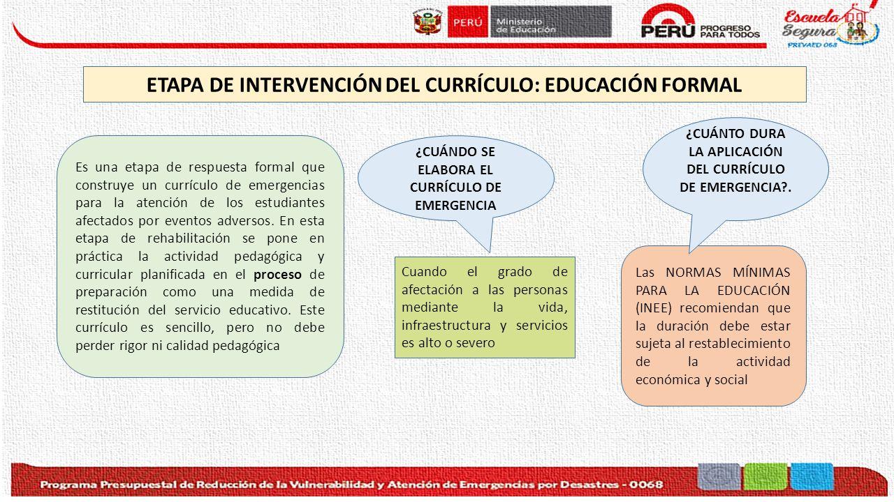 ETAPA DE INTERVENCIÓN DEL CURRÍCULO: EDUCACIÓN FORMAL