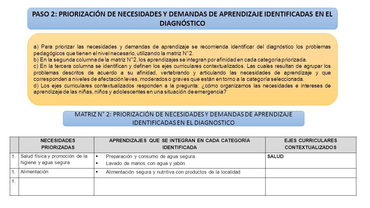 PASO 2: PRIORIZACIÓN DE NECESIDADES Y DEMANDAS DE APRENDIZAJE IDENTIFICADAS EN EL DIAGNÓSTICO