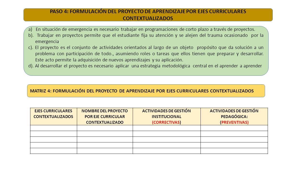 PASO 4: FORMULACIÓN DEL PROYECTO DE APRENDIZAJE POR EJES CURRICULARES CONTEXTUALIZADOS