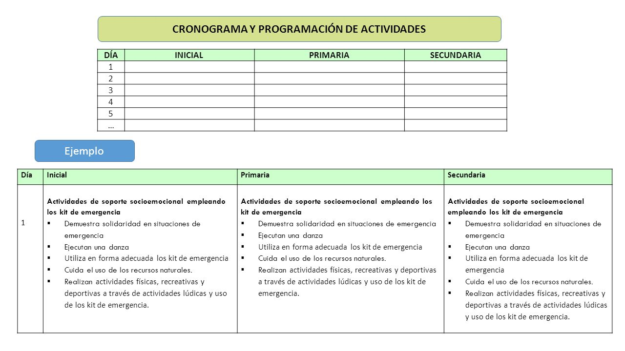 CRONOGRAMA Y PROGRAMACIÓN DE ACTIVIDADES