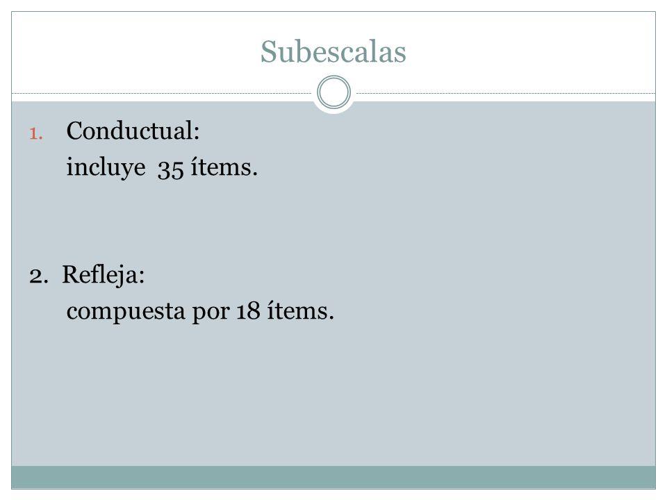 Subescalas Conductual: incluye 35 ítems. 2. Refleja: