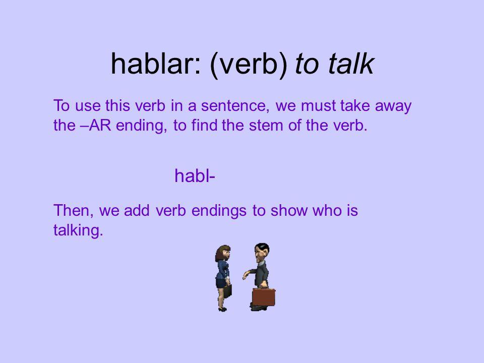 hablar: (verb) to talk habl-