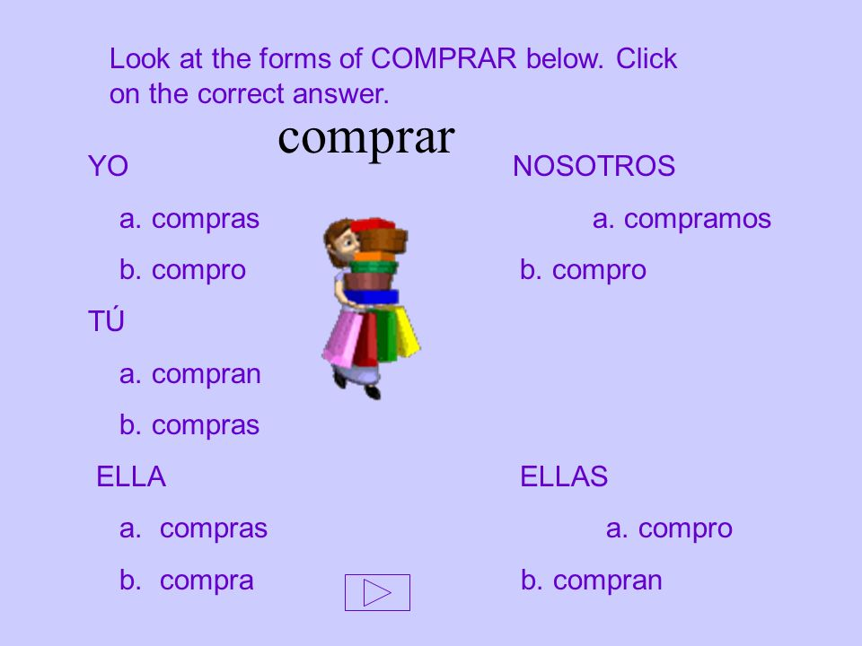 Look at the forms of COMPRAR below. Click on the correct answer.