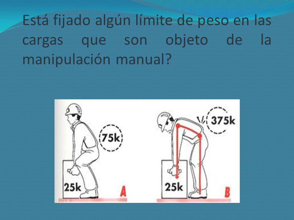 Está fijado algún límite de peso en las cargas que son objeto de la manipulación manual