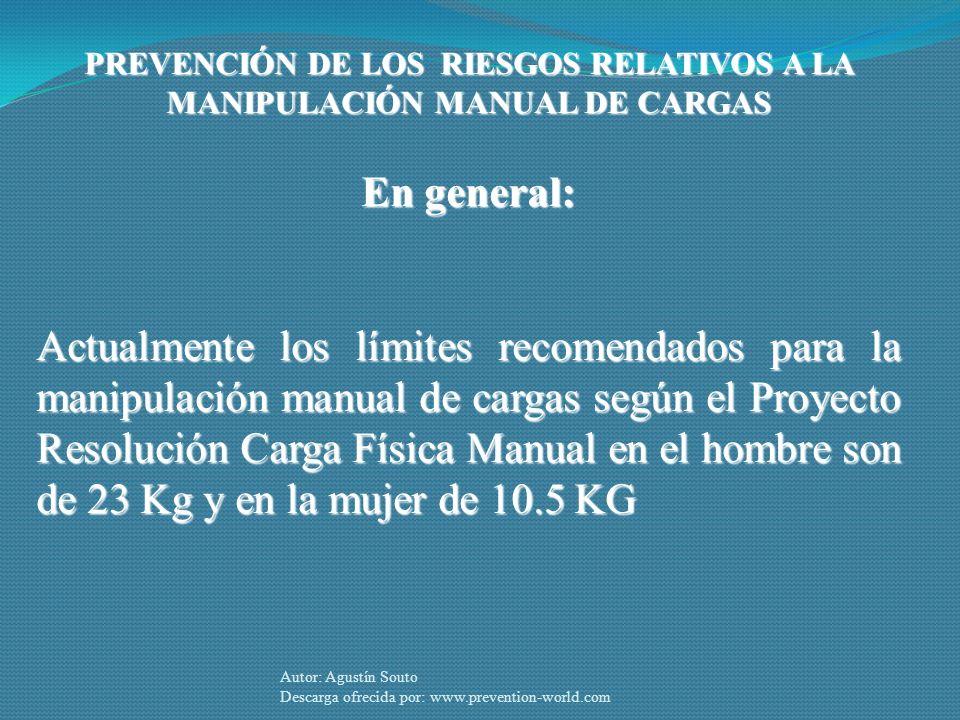 PREVENCIÓN DE LOS RIESGOS RELATIVOS A LA MANIPULACIÓN MANUAL DE CARGAS