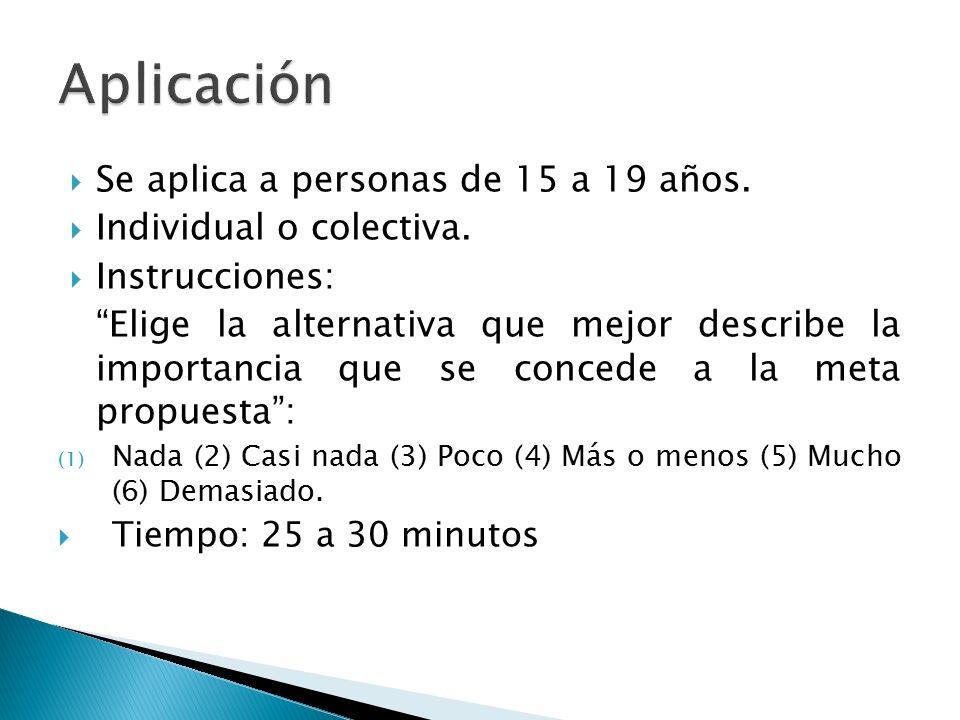 Aplicación Se aplica a personas de 15 a 19 años.