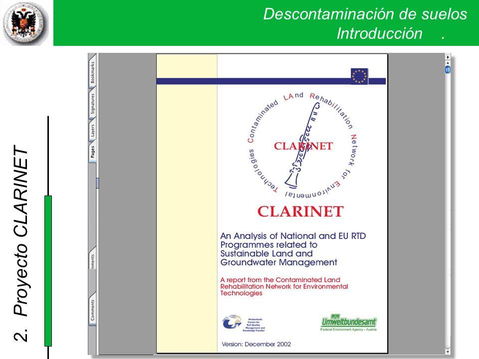 2. Proyecto CLARINET Descontaminación de suelos . Introducción .
