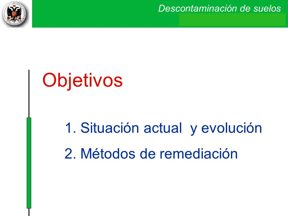Objetivos 1. Situación actual y evolución 2. Métodos de remediación