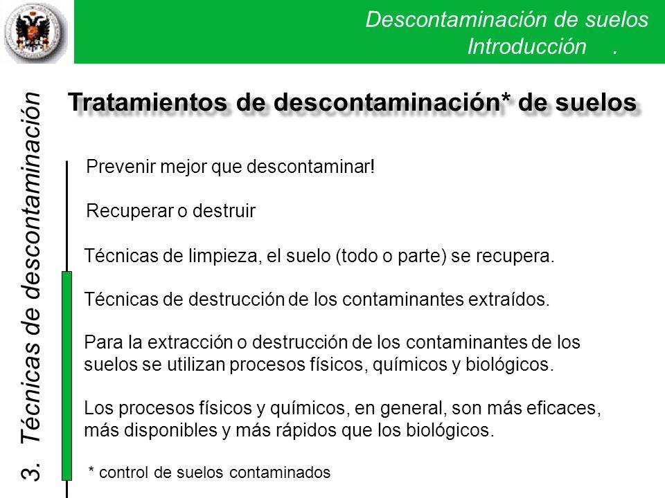 Tratamientos de descontaminación* de suelos
