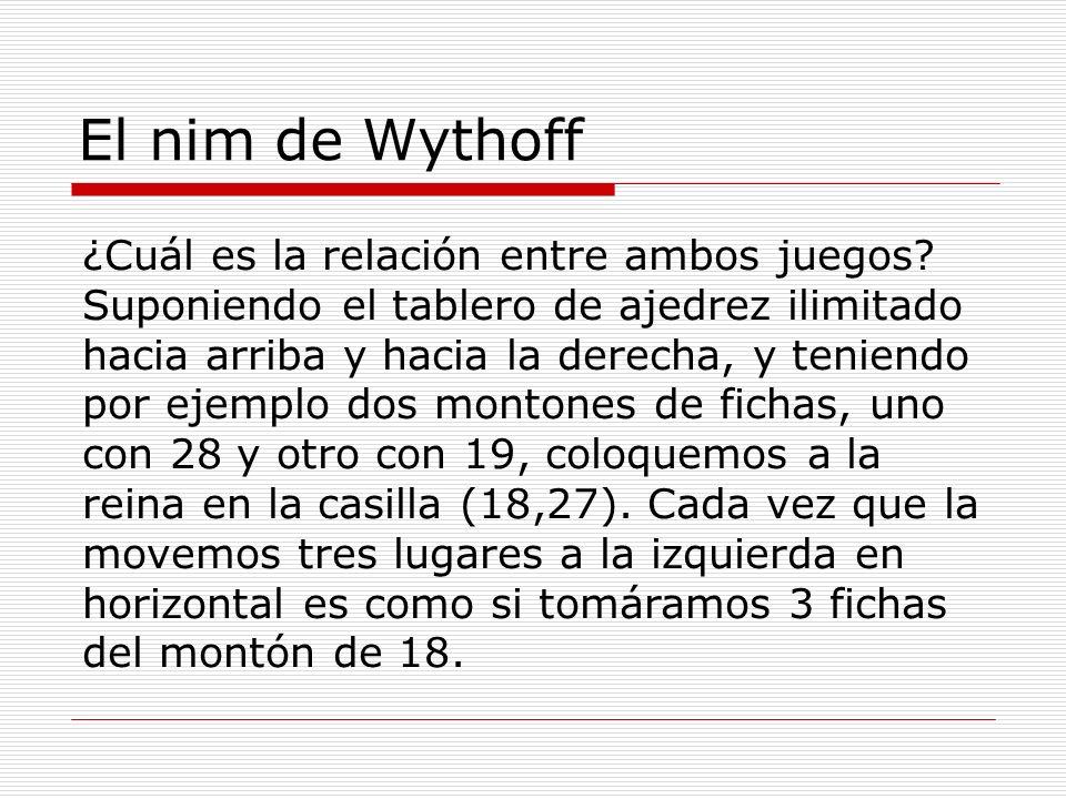 El nim de Wythoff ¿Cuál es la relación entre ambos juegos