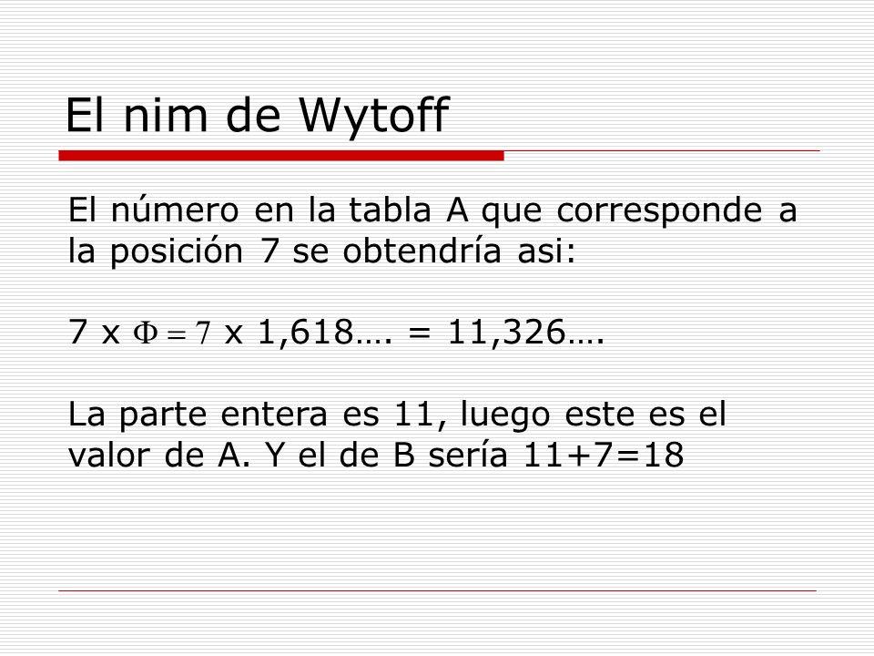 El nim de Wytoff El número en la tabla A que corresponde a la posición 7 se obtendría asi: 7 x F = 7 x 1,618…. = 11,326….