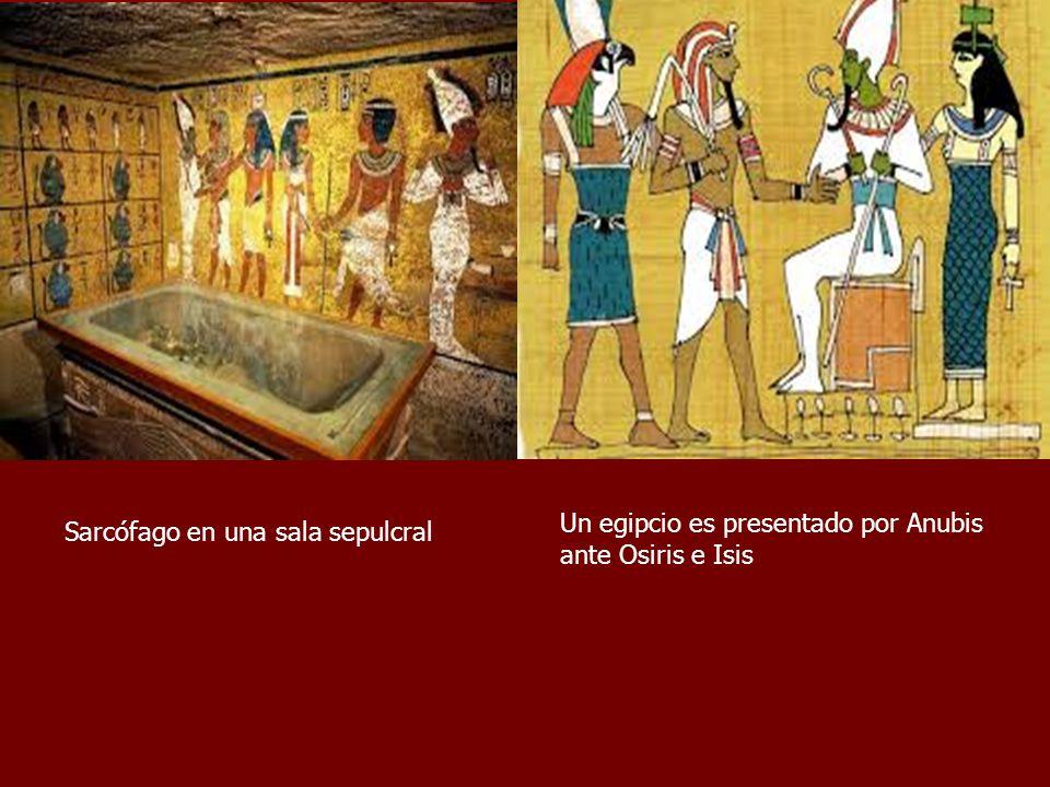 Un egipcio es presentado por Anubis ante Osiris e Isis