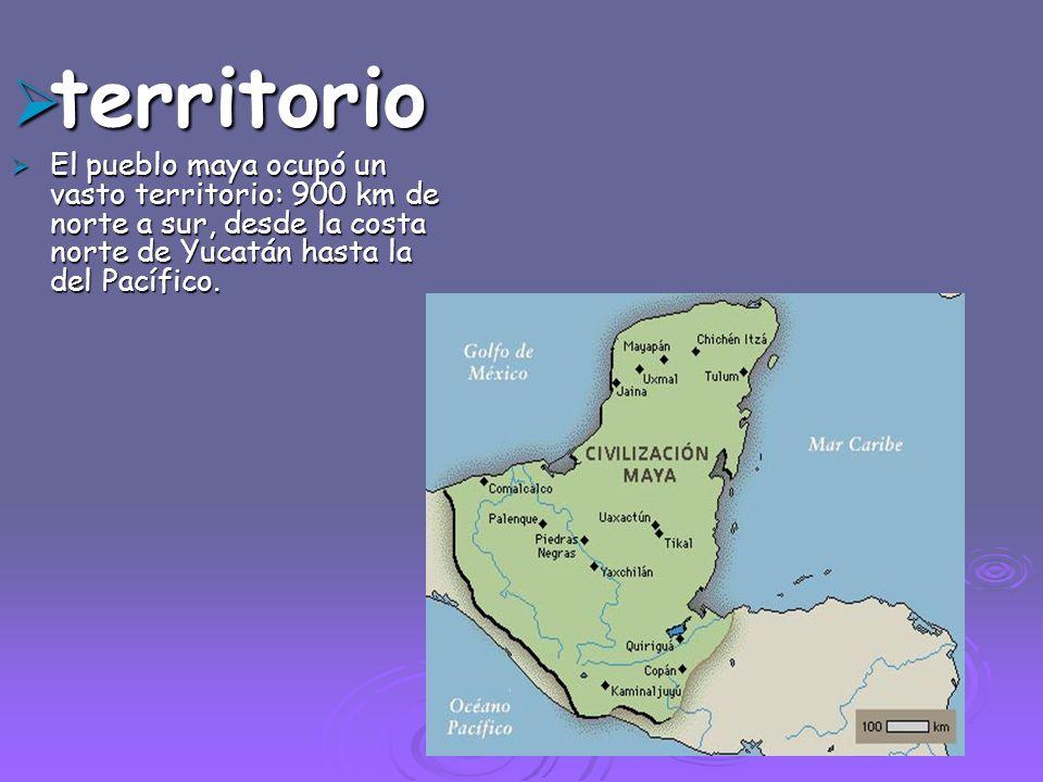 territorio El pueblo maya ocupó un vasto territorio: 900 km de norte a sur, desde la costa norte de Yucatán hasta la del Pacífico.