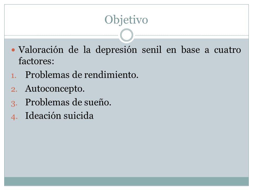 Objetivo Valoración de la depresión senil en base a cuatro factores: