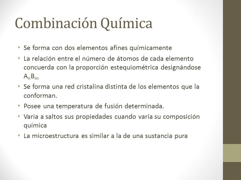 Combinación Química Se forma con dos elementos afines químicamente