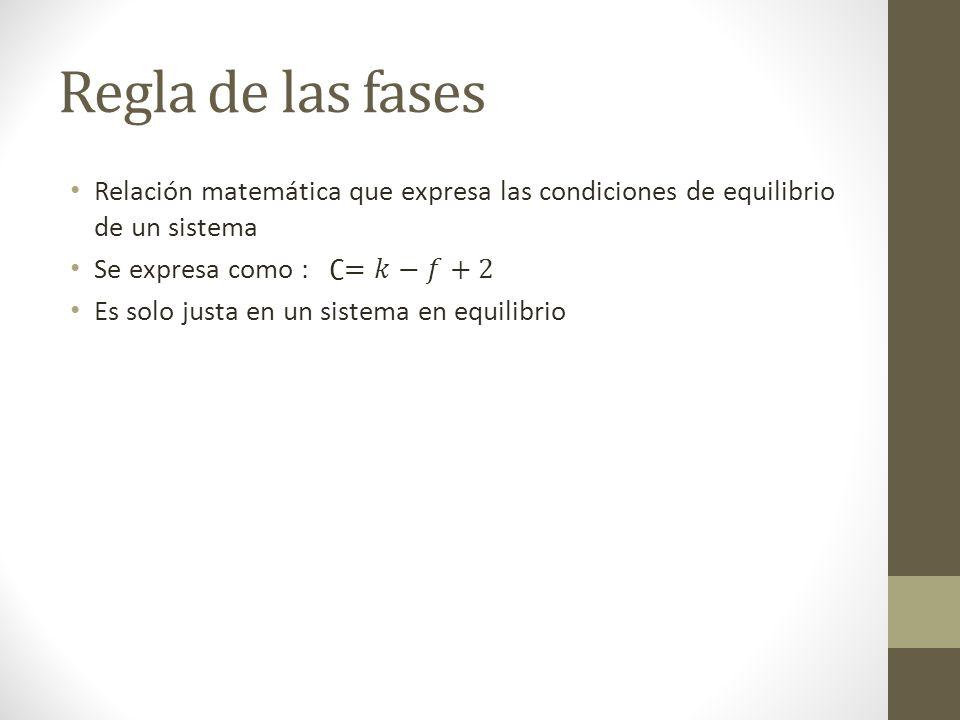 Regla de las fases Relación matemática que expresa las condiciones de equilibrio de un sistema. Se expresa como : ∁=𝑘−𝑓+2.