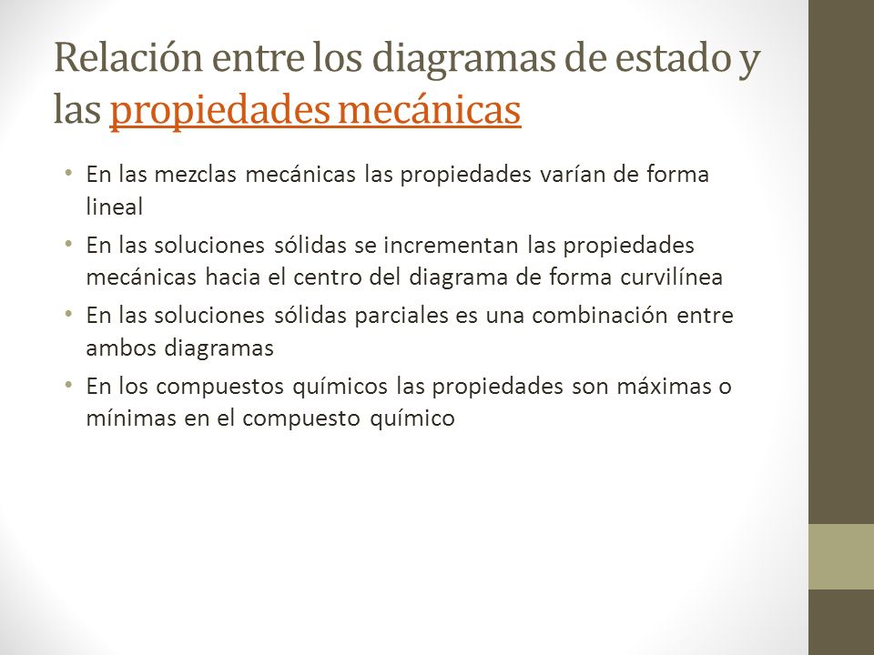 Relación entre los diagramas de estado y las propiedades mecánicas