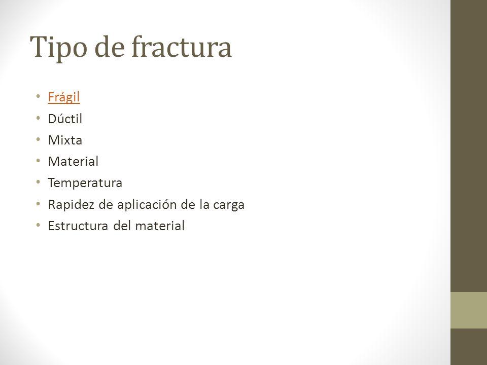 Tipo de fractura Frágil Dúctil Mixta Material Temperatura