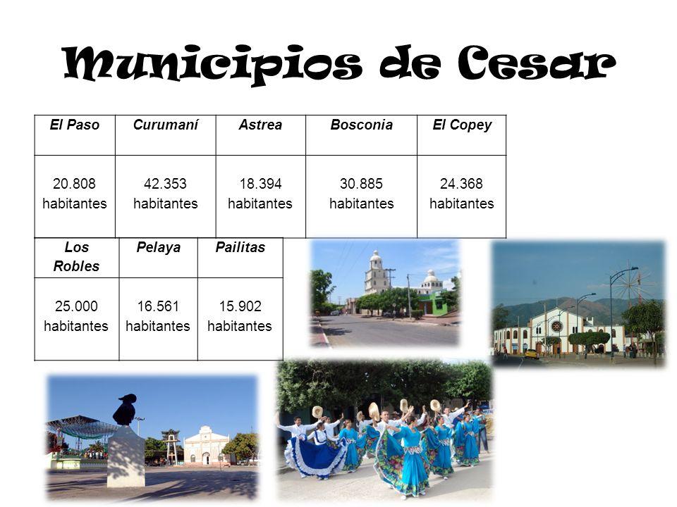 Municipios de Cesar El Paso Curumaní Astrea Bosconia El Copey