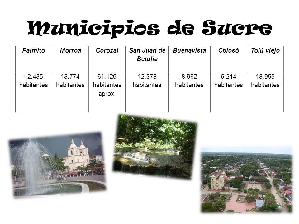 Municipios de Sucre Palmito Morroa Corozal San Juan de Betulia