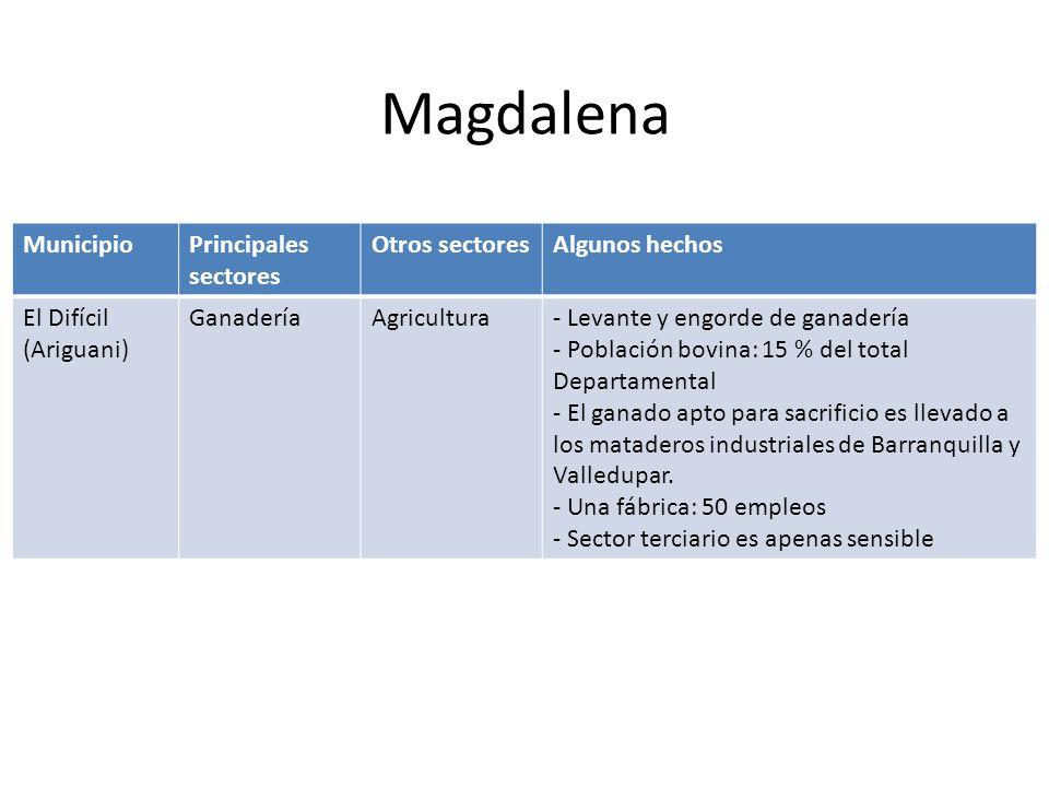 Magdalena Municipio Principales sectores Otros sectores Algunos hechos