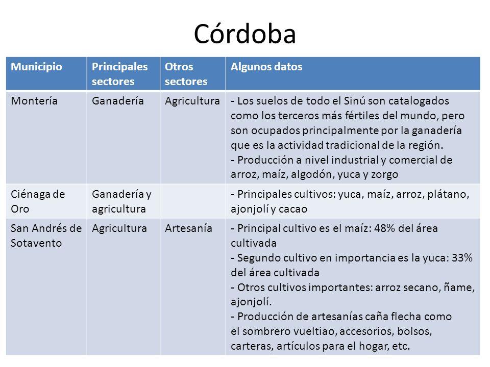 Córdoba Municipio Principales sectores Otros sectores Algunos datos
