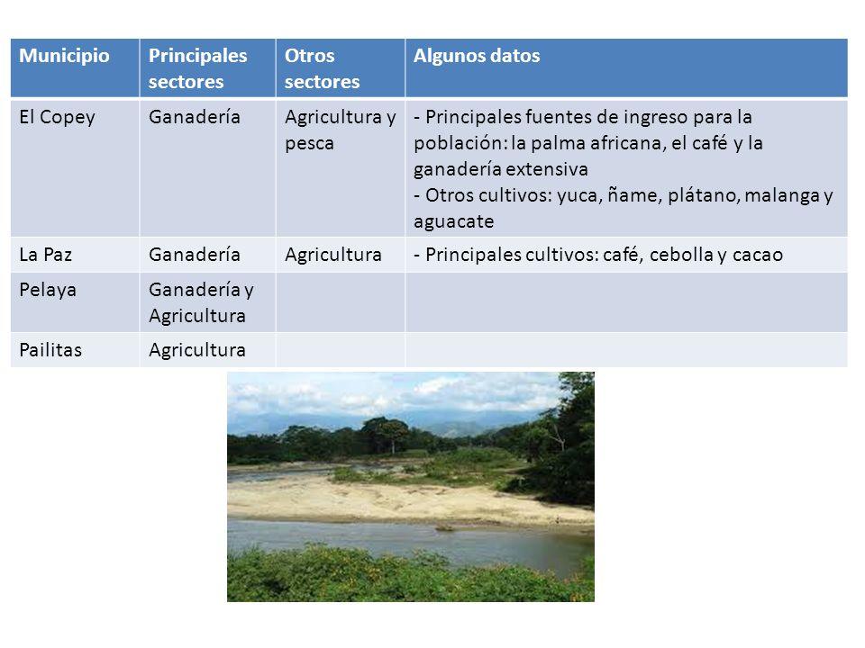 Municipio Principales sectores. Otros sectores. Algunos datos. El Copey. Ganadería. Agricultura y pesca.