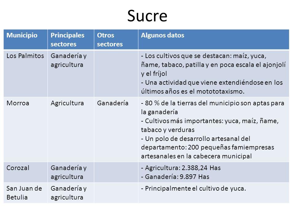 Sucre Municipio Principales sectores Otros sectores Algunos datos