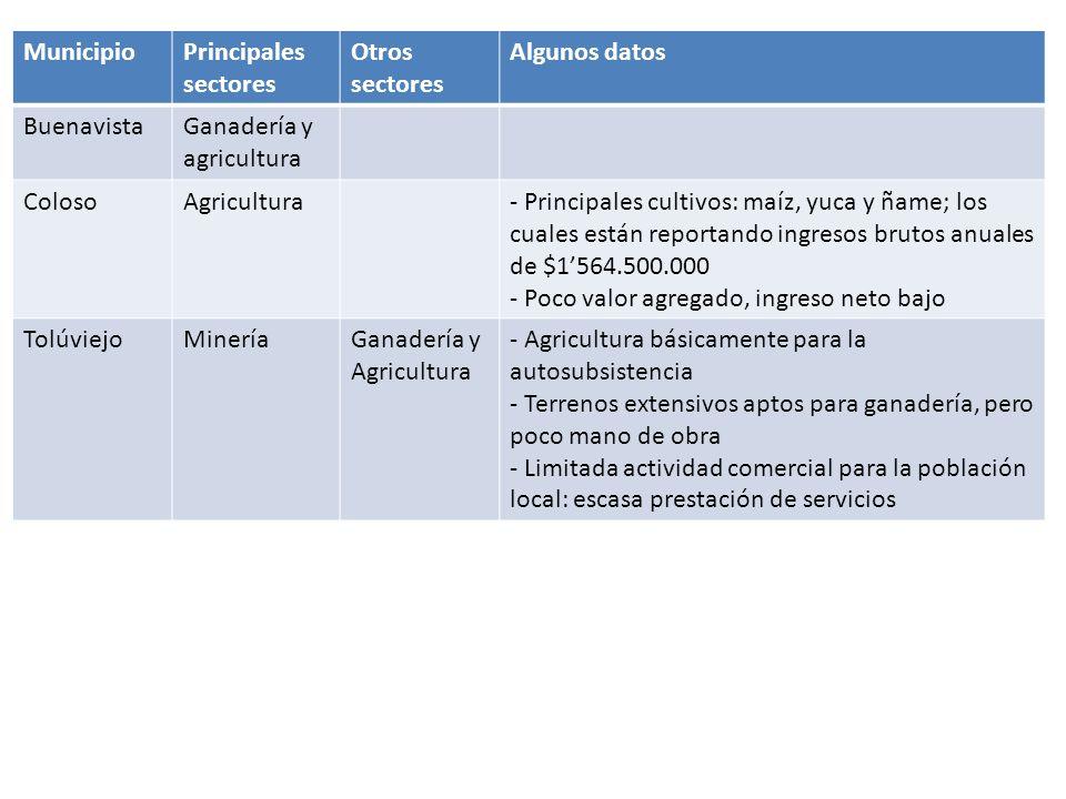 Municipio Principales sectores. Otros sectores. Algunos datos. Buenavista. Ganadería y agricultura.