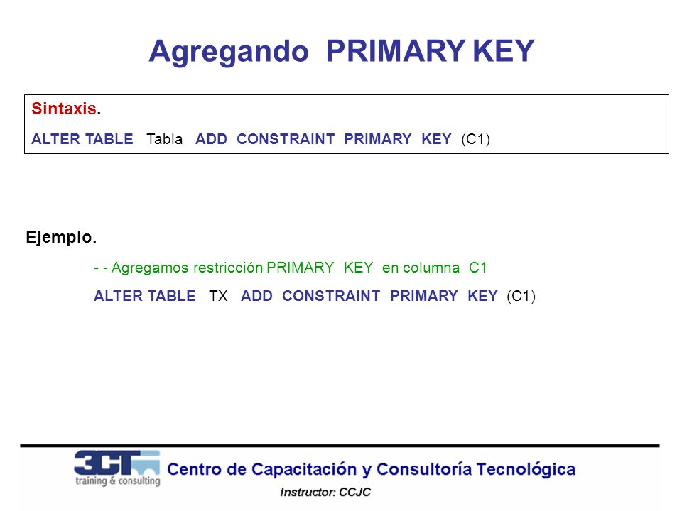 Modificando la estructura de tablas ppt descargar - Alter table add constraint primary key ...