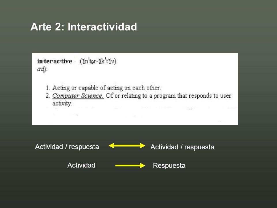 Arte 2: Interactividad Actividad / respuesta Actividad / respuesta