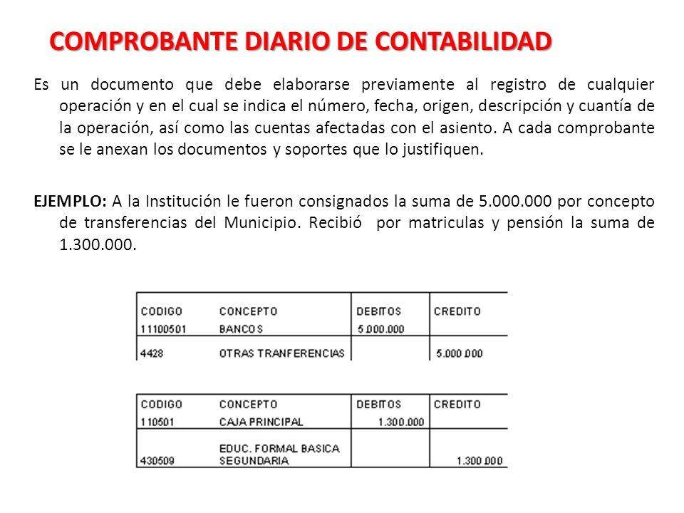 COMPROBANTE DIARIO DE CONTABILIDAD