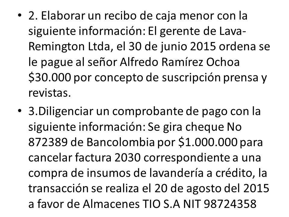 2. Elaborar un recibo de caja menor con la siguiente información: El gerente de Lava-Remington Ltda, el 30 de junio 2015 ordena se le pague al señor Alfredo Ramírez Ochoa $30.000 por concepto de suscripción prensa y revistas.